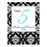 Elegant Damask Wedding Table Number Card 2 Post Card