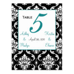Elegant Damask Wedding Table Number Card Jade
