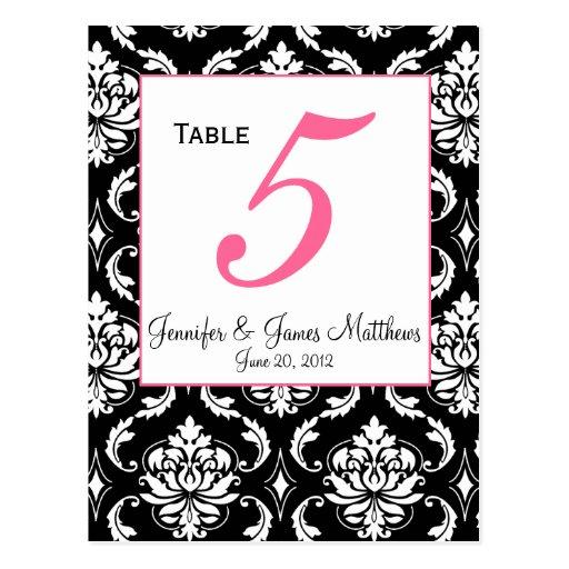 Elegant Damask Wedding Table Number Card Post Card
