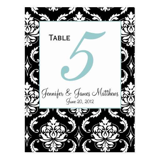 Elegant Damask Wedding Table Number Card Postcard