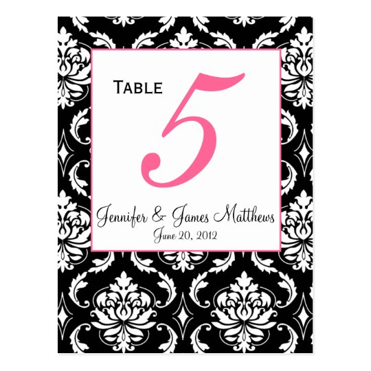 Elegant Damask Wedding Table Number Card Postcard
