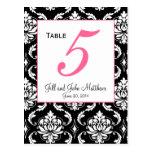 Elegant Damask Wedding Table Number Card Post Cards