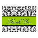 Elegant Damask Wedding Thank You Card Apple Green