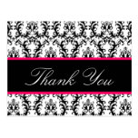 Elegant Damask Wedding Thank You Card Pink Black