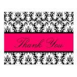 Elegant Damask Wedding Thank You Card Pink Black Post Cards