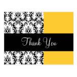 Elegant Damask Wedding Thank You Card Yellow Post Cards