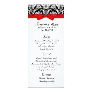 Elegant Damask with Red Bow Reception Menu 10 Cm X 24 Cm Invitation Card