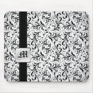 Elegant Damasked Monogram Mouse Pads