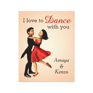 Elegant Dancers: Red Silk Dress (Personalized) Stretched Canvas Print