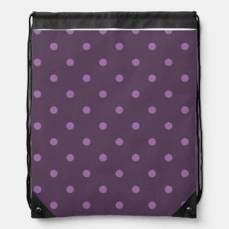 elegant dark and light purple polka dots drawstring bag