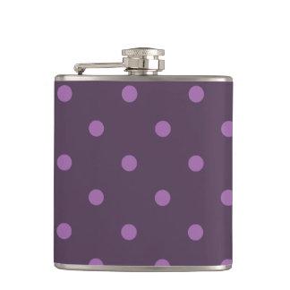 elegant dark and light purple polka dots flasks