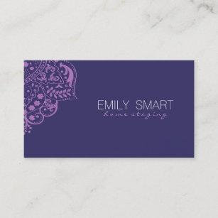 Elegant Dark Blue Background Purple Vintage Lace Business Card
