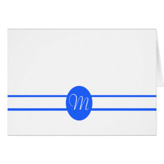 Elegant Dark Blue Double Stripe Blank Note Card