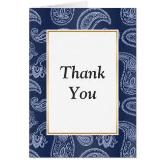 Elegant dark blue paisley pattern card