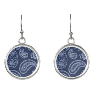 Elegant dark blue paisley pattern earrings