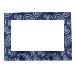 Elegant dark blue paisley pattern frame magnets