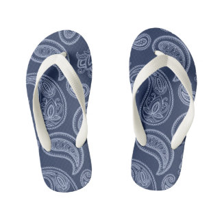 Elegant dark blue paisley pattern kid's thongs