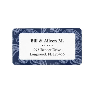 Elegant dark blue paisley pattern label