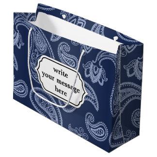 Elegant dark blue paisley pattern large gift bag