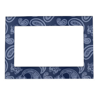 Elegant dark blue paisley pattern magnetic picture frame