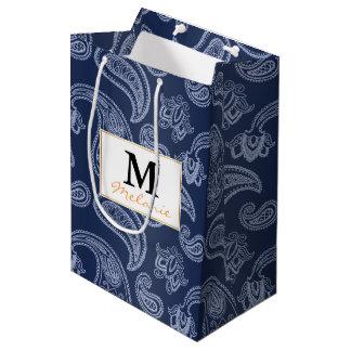 Elegant dark blue paisley pattern medium gift bag