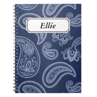 Elegant dark blue paisley pattern notebook