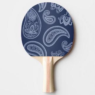Elegant dark blue paisley pattern ping pong paddle