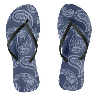 Elegant dark blue paisley pattern thongs