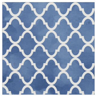 Elegant Dark Blue Watercolor Quatrefoil Pattern Fabric