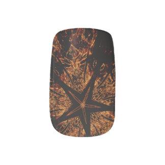 Elegant Dark Brown Black Star Minx Party Nail Art