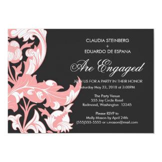 Elegant Dark & Classy Florals - Black, Candy Pink 13 Cm X 18 Cm Invitation Card