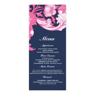 Elegant Dark & Classy Florals - Dark Blue, Pink 10 Cm X 24 Cm Invitation Card