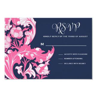 Elegant Dark & Classy Florals - Dark Blue, Pink 9 Cm X 13 Cm Invitation Card
