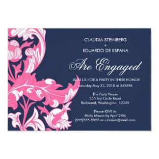 Elegant Dark & Classy Florals - Dark Blue, Pink Card