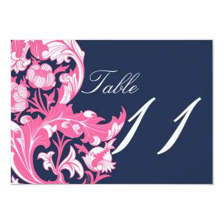 Elegant Dark & Classy Florals - Dark Blue, Pink 13 Cm X 18 Cm Invitation Card
