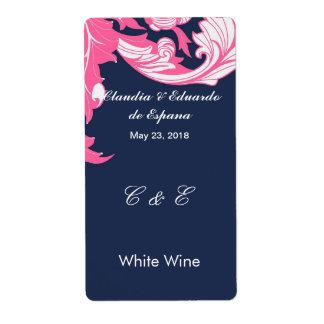 Elegant Dark & Classy Florals - Dark Blue, Pink Shipping Label