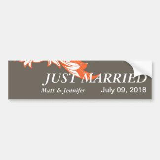 Elegant Dark & Classy Florals - Dark Gray, Orange Car Bumper Sticker
