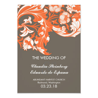 Elegant Dark & Classy Florals - Dark Gray, Orange Card