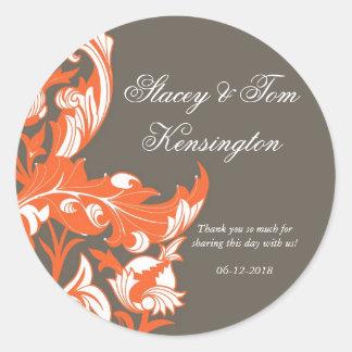 Elegant Dark & Classy Florals - Dark Gray, Orange Round Sticker