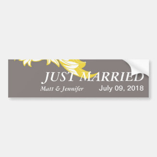 Elegant Dark & Classy Florals - Dark Gray, Yellow Bumper Sticker