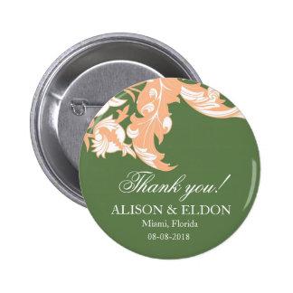 Elegant Dark Classy Florals - Dark Green Peach Buttons