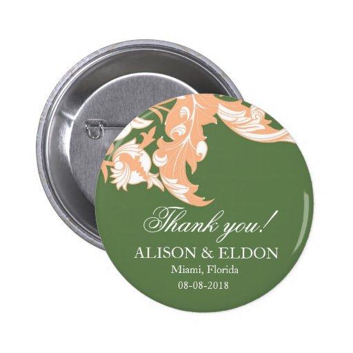 Elegant Dark & Classy Florals - Dark Green, Peach Buttons