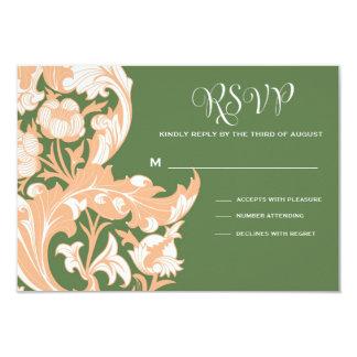 "Elegant Dark & Classy Florals - Dark Green, Peach 3.5"" X 5"" Invitation Card"
