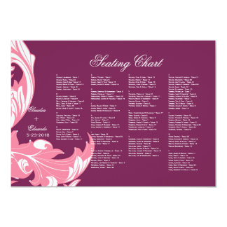 Elegant Dark & Classy Florals - Dark Purple, Pink 13 Cm X 18 Cm Invitation Card