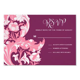 Elegant Dark & Classy Florals - Dark Purple, Pink 9 Cm X 13 Cm Invitation Card