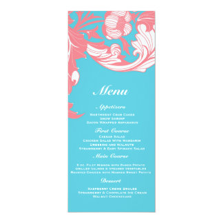 Elegant Dark & Classy Florals - Sky Blue, Pink 10 Cm X 24 Cm Invitation Card