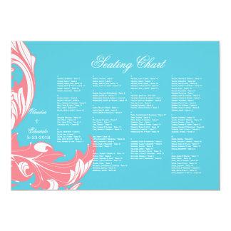 Elegant Dark & Classy Florals - Sky Blue, Pink 13 Cm X 18 Cm Invitation Card