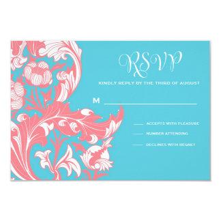 Elegant Dark & Classy Florals - Sky Blue, Pink 9 Cm X 13 Cm Invitation Card