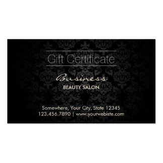 Elegant Dark Damask Beauty Salon Gift Certificates Business Card