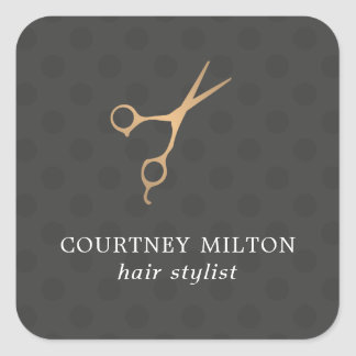 Elegant Dark Dotted Faux Gold Scissor Hair Stylist Square Sticker